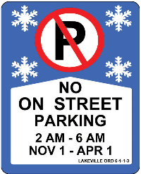 Winter no parking sign